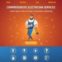 Serviço elétrico, sorrindo, trabalhador manual, com, equipamento