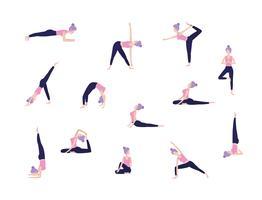conjunto de mulheres fazendo poses de ioga vetor