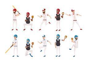 conjunto de jogadores de beisebol profissional vetor