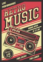 Poster retro do vintage de Boombox
