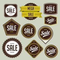 Conjunto de distintivo de venda vetor