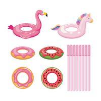 float set wirh donut, frutas e animais vetor