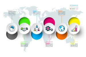 Círculo de negócios rótulos forma infográfico grupos bar