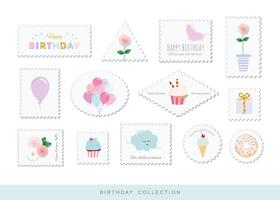 Selos postais bonitos para design de aniversário ou recados vetor