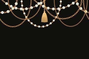 Colar metálico dourado com borla, pérolas e correntes