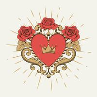 Belo coração vermelho ornamental com coroa e rosas vetor