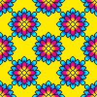 Teste padrão de flor colorida da arte do pixel vetor