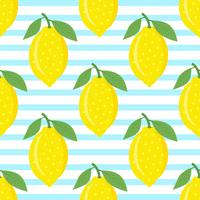 Limões no fundo listrado azul vetor