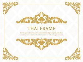 Moldura de borda temática tailandesa elegante ouro vetor
