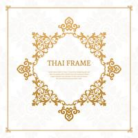 Vetor de quadro temático tailandês decorativo
