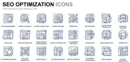 Ícones de linha de otimização de SEO e Web
