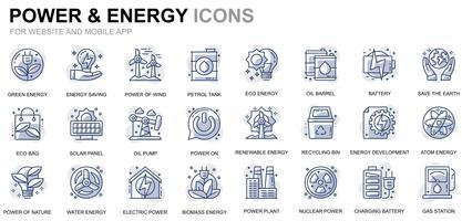 Indústria de energia e ícones de linha de energia