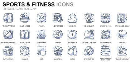 Esporte e ícones de linha de aptidão