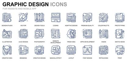 Web e ícones de linha de Design gráfico vetor