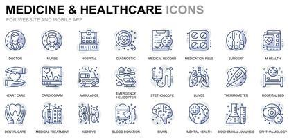 Ícones de linha de cuidados de saúde e medicina vetor