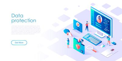 Página de destino da Proteção de dados isométrica