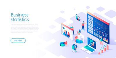 Isométrico conceito de estatística de negócios para banner e site