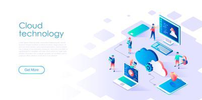 Isométrico conceito de tecnologia de nuvem para banner e site vetor
