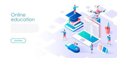 Isométrico conceito de educação on-line para banner e site