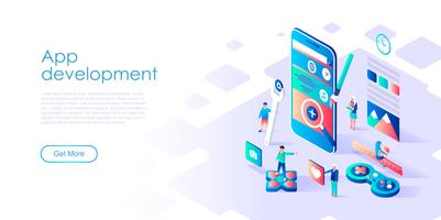 Isometric concept of App Development para banner e site vetor