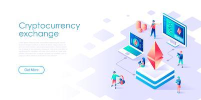 Isométrica conceito de troca de criptomoeda para banner e site