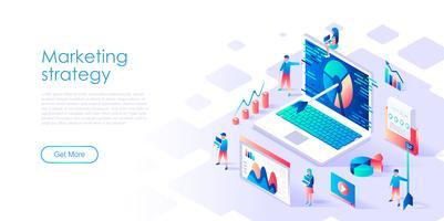 Isométrica conceito de estratégia de marketing para banner e site vetor