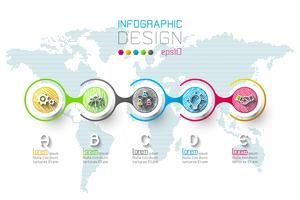 Infográfico de negócios com 5 passos vetor