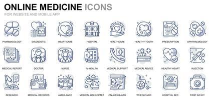 Linha de cuidados de saúde e médicos ícones vetor