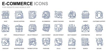 Ícones de linha de comércio eletrônico e compras