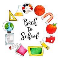 School Subjects circular Aquarela de volta ao fundo da escola vetor
