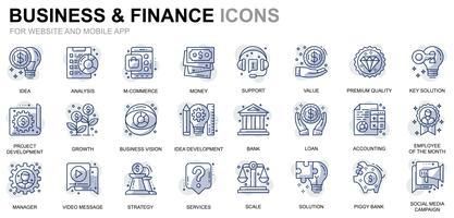 Ícones de linha de negócios e finanças