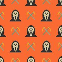 Padrão sem emenda de Halloween com fantasma e foices