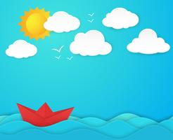 Barco de papel no oceano vetor