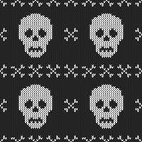Textura de tricô sem costura com caveira e osso vetor