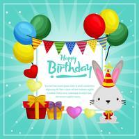 modelo de cartão de aniversário com coelho bonito e balões
