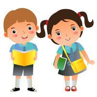 menino e menina escola crianças com livros e bolsa vetor