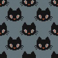 Textura de tricô sem costura com gato fofo vetor