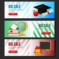 conjunto de banner colorido escola venda vetor