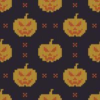 Textura de tricô sem costura com abóboras bonitos vetor