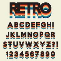 Alfabeto de letra estilizado estilo retro vetor