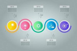 Conceito criativo para infográfico com 5 opções, partes ou processos.