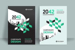 Modelo de Design de capa de livro de negócios de fundo cidade vetor