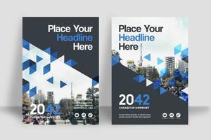 Modelo de Design de capa de livro de negócios de fundo cidade triangular dispersa vetor