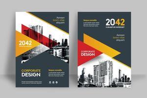 Modelo de Design de capa de livro de negócios fundo laranja e vermelho Skyline vetor