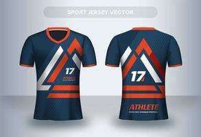 Modelo de design de camisa de futebol geométrico laranja. vetor