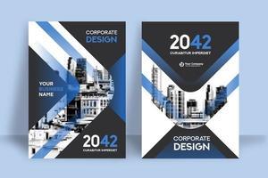 Molde moderno do projeto da capa do livro do negócio do fundo da cidade do azul vetor