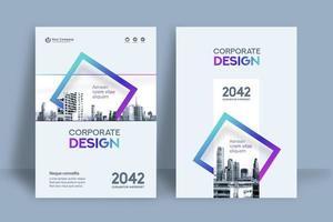 Modelo de Design de capa de livro de negócios de fundo de cidade quadrado azul e roxo