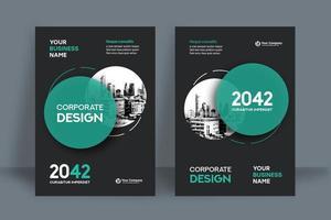Modelo de Design de capa de livro de negócios ciano cidade circular fundo