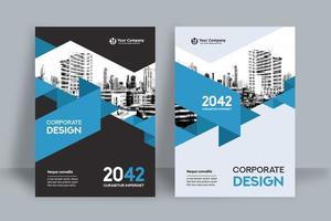 Molde linear azul do projeto da capa do livro do negócio do fundo da cidade