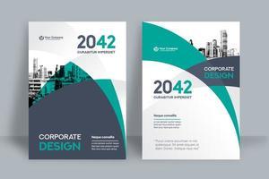 Modelo de Design de capa de livro de negócios ciano cidade fundo vetor